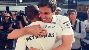 Hamilton and Wolff celebrate