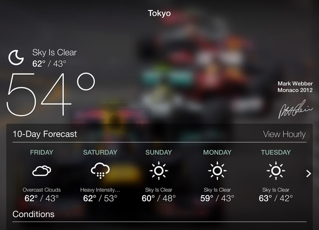 10-day forecast overlay covers an image of Mark Webber at Monaco