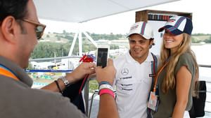 Photo opportunity with Massa in the motorhome
