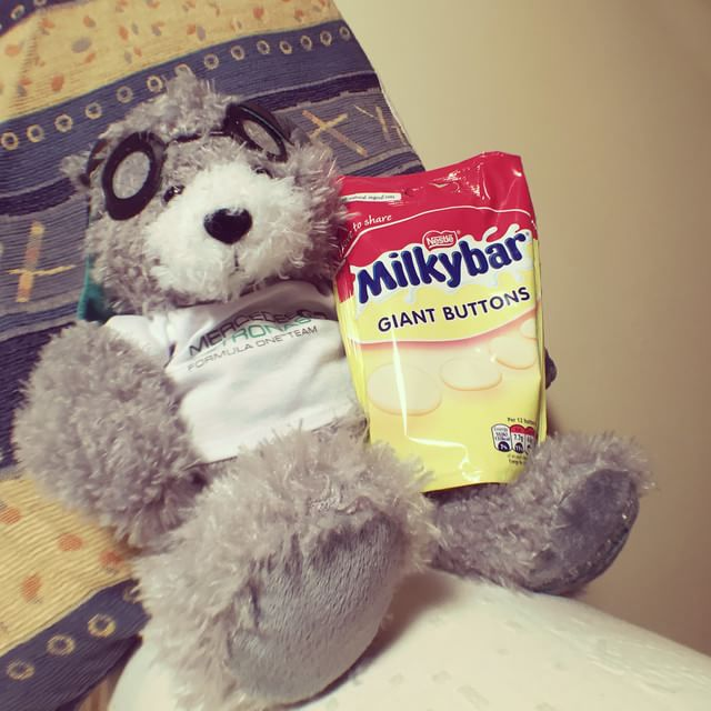 Mercedes bear with a bag full of treats