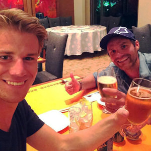 Hülkenberg enjoys a beer