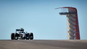 Rosberg over the crest of a hill in Texas