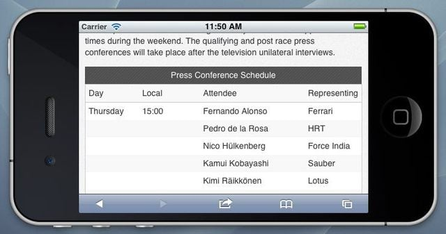 Race preview in landscape mode