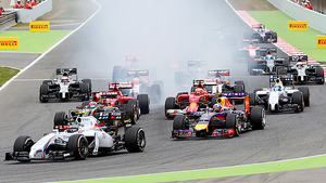 A smoky start to the Grand Prix at turn one
