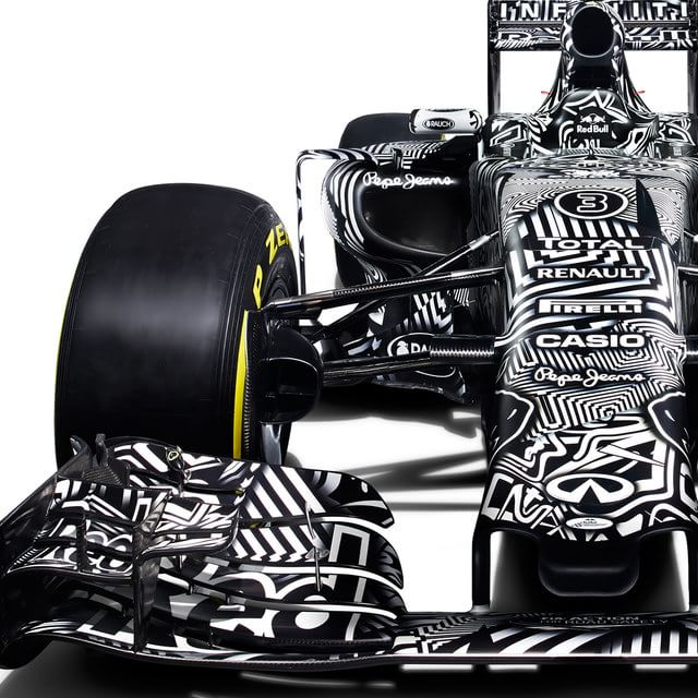 Close up with the black and white livery
