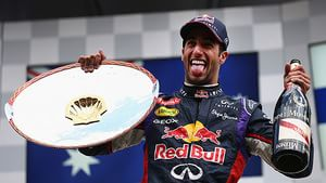 Ricciardo with his trophy