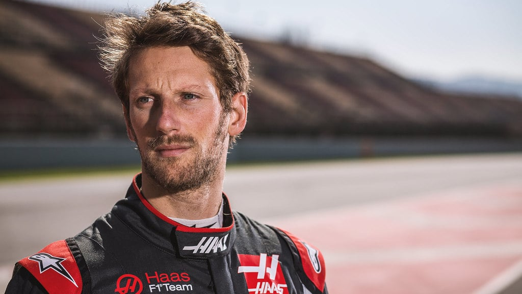 Romain Grosjean celebrates launch of 2017 Haas challenger