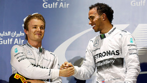 Nico and Lewis on the Bahrain podium