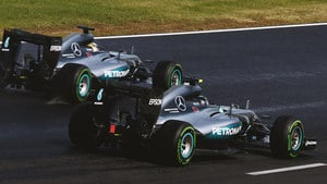 Rosberg and Hamilton go wheel to wheel