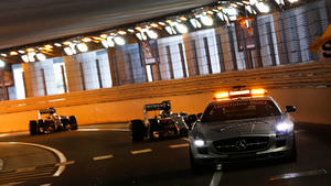 The safety car leads Mercedes during the Monaco GP