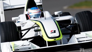 Button tests out the new Brawn GP car in Silverstone