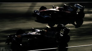 Webber and Alonso battle for track position during Jerez testing