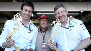 Wolff, Lauda and Brawn celebrate