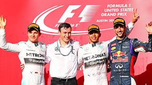 Smiles all round on the COTA podium