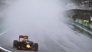 Verstappen in spray during the Brazilian GP