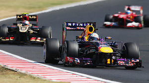 Red Bull head Lotus and Ferrari during the Hungarian GP